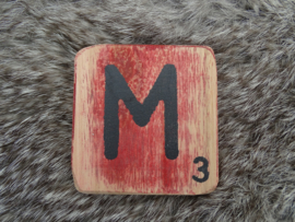 Houten Letter M 6x6cm