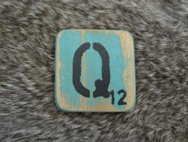 Houten Letter Q 6x6cm