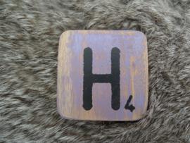 Houten Letter H 6x6cm