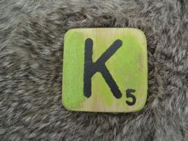 Houten Letter K 6x6cm