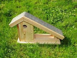 vogelhuisje en voederbakje met dakbedekking