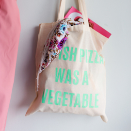 Katoenen tas met grappige tekst I WISH PIZZA WAS A VEGETABLE