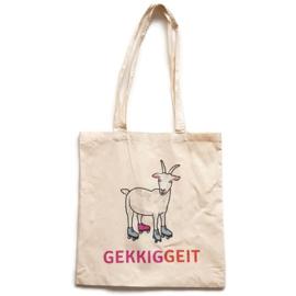 Katoenen tas met de enige echte Gerrit de Geit van Gekkiggeit erop