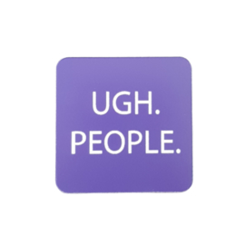 Koelkastmagneet met grappige tekst 'UGH. PEOPLE.' - Paars/wit acryl 5 cm x 5 cm