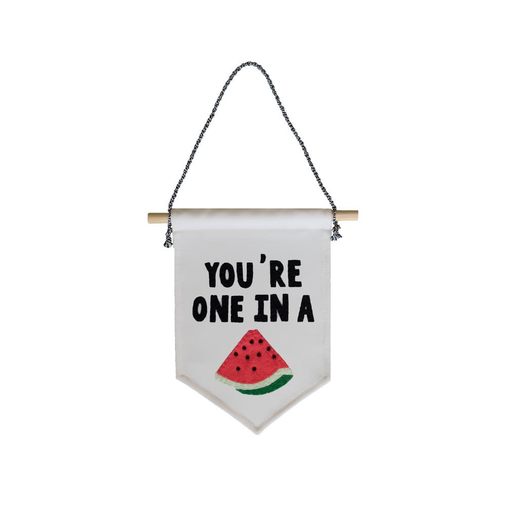 muurvlag-van-gekkiggeit-met-de-quote-you're-one-in-a-melon