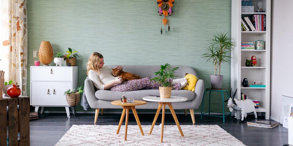blog-gekkiggeit-op-de-bank-voor-de-buis-vrouw-zit-in-woonkamer-met-kat-op-schoot