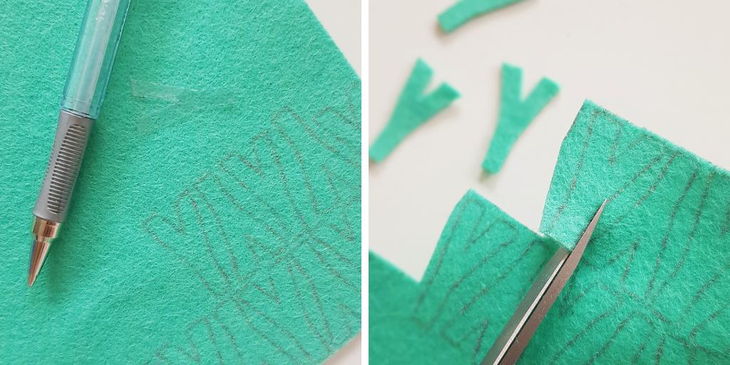 close-up-van-het-uitknippen-van-vilten-letters-voor-het-maken-van-muurlvaggen-voor-gekkiggeit
