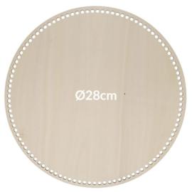 Blank hout geperforeerde bodem rond(28 cm)