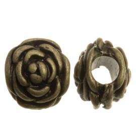 Metalen kraal Rose brons
