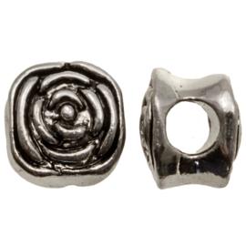 Metalen kraal Rose antiek zilver