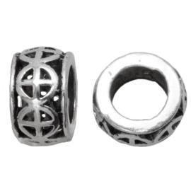 Metalen kraal target antiek zilver
