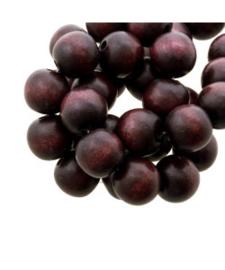 Houten kraal Ruby brown 12 mm