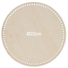 Blank hout geperforeerde bodem rond(22 cm)