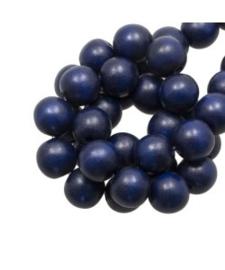 Houten kraal navy blue 12 mm