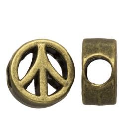 Metalen kraal Peace brons