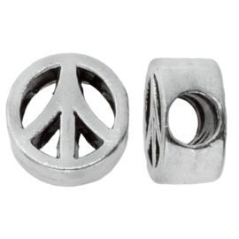 Metalen kraal Peace antiek zilver