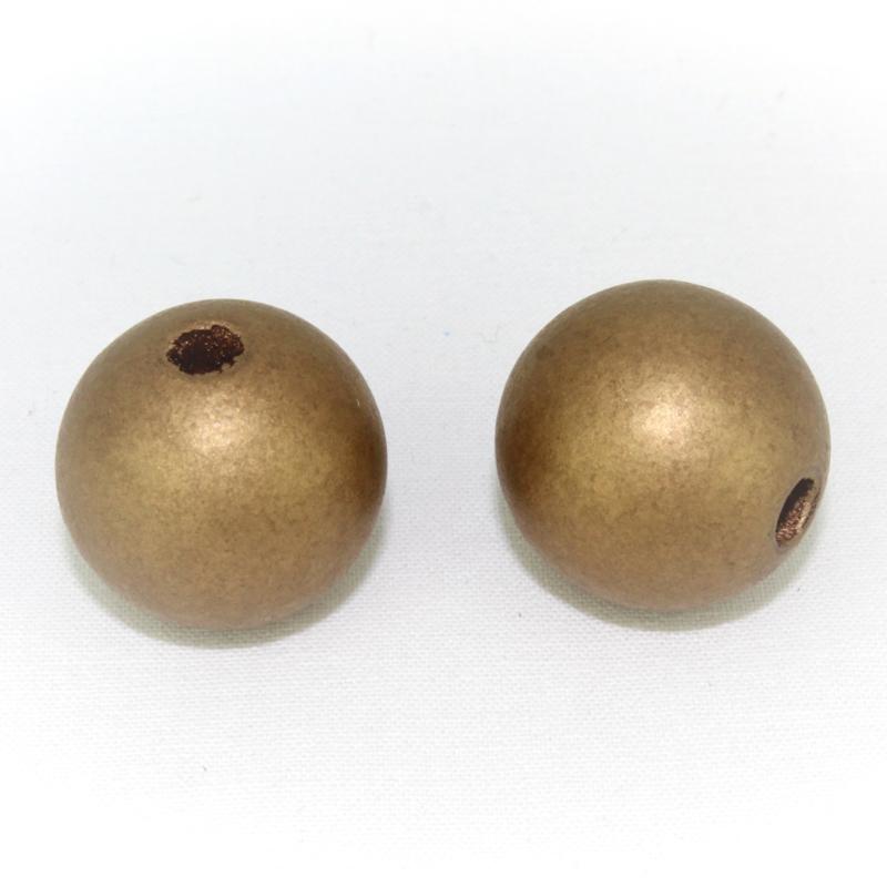 Houten kraal brons 25 mm