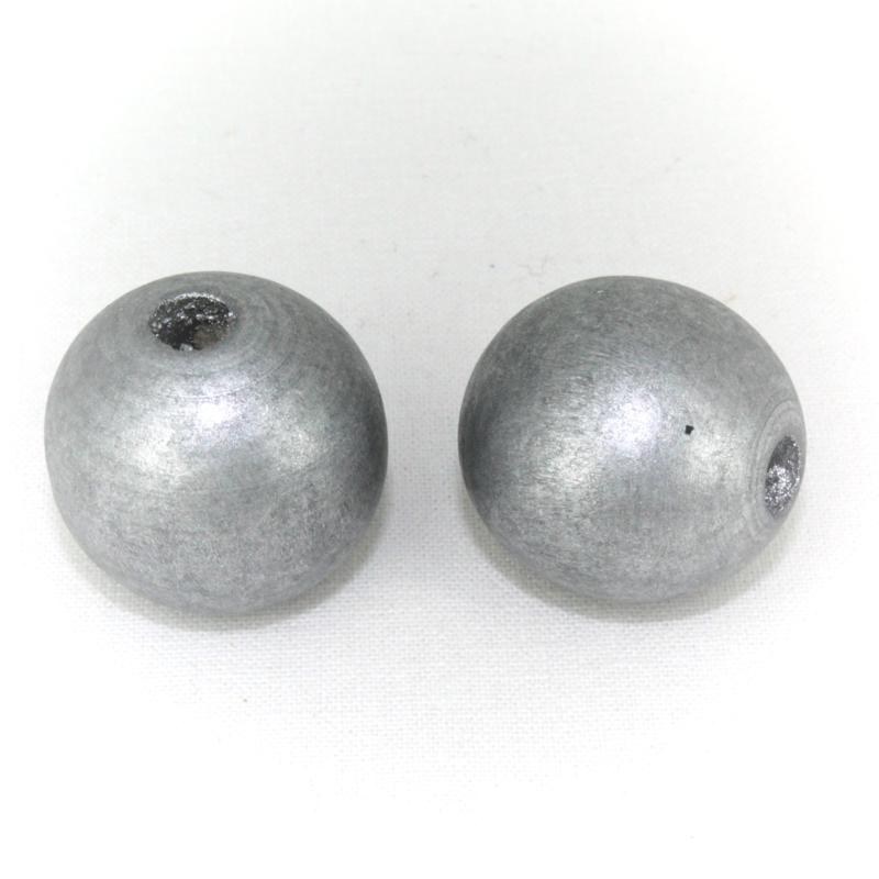 Houten kraal zilver 25 mm