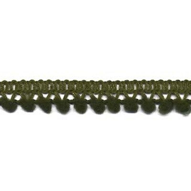 mini pompomband legergroen 10 mm