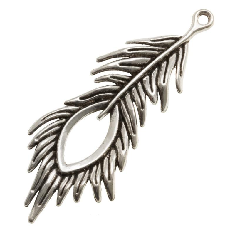 Antiek zilveren veer 71 mm