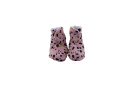 New born slofjes in kiezel print roze met Honey