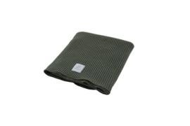 Ledikant deken rib knitted Army 100 x 150