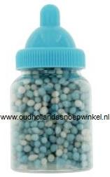 Babyflesjes gevuld met muisjes  12 stuks (blauw)