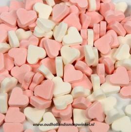 Vruchtenhartjes Mini Roze/Wit (225 gram)