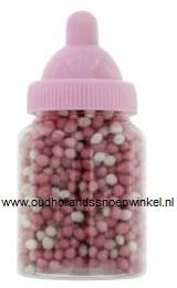 Babyflesjes gevuld met muisjes  12 stuks (roze)