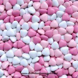 Chocolade Dragee Hartjes Roze/wit (150 gram)