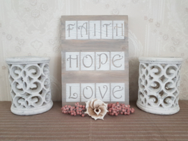 Tekstbord Faith Hope Love