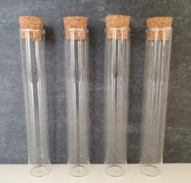 Glazen tube / buisje met kurk - groot