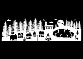 Winter dorp Raamsticker (statisch)