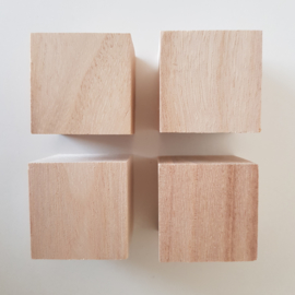 Houten kubus 4 cm