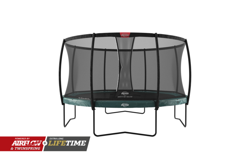 Trampoline Berg Elite+ 430 + Safety Net Deluxe Groen