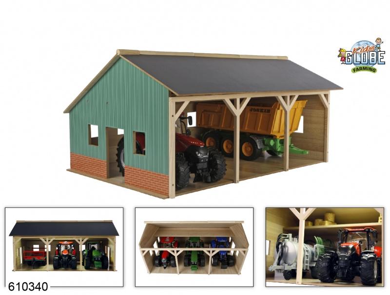 Houten Landbouwloods voor 3 tractoren (1:16)