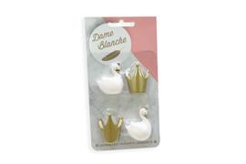 Dame Blanche magneetset (2 zwaantjes  kleur wit + 2 kroontjes kleur goud)
