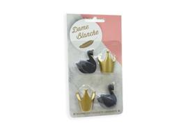 Dame Blanche magneetset (2 zwaantjes  kleur zwart + 2 kroontjes kleur goud)