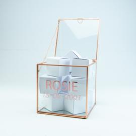 Giftbox kubus in glas, kleur roze rosé (15x15x15 cm)