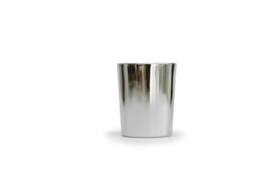 Kaarsje met houten wiek  in zilver glaasje, klein model H6,2 cm - diameter 5 cm