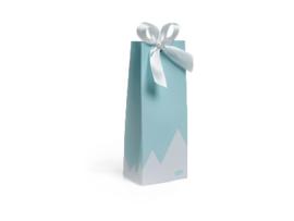 Hoog doosje kleur blauw met witte bergen