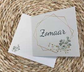 Wenskaart veelhoek - tekst: Zomaar + enveloppe