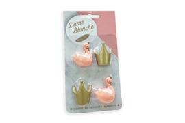 Dame Blanche magneetset (2 zwaantjes  kleur peach + 2 kroontjes kleur goud)