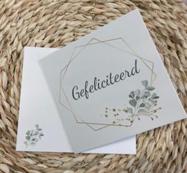 Wenskaart veelhoek - tekst: Gefeliciteerd + enveloppe