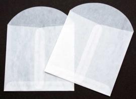 Pergamijn-zakje vierkant, kleur wit,  9 x 9 cm