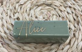 Rechthoekige stuk zeep kleur euchalyptus, reeds verpakt in folie, per stuk