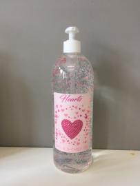 Doorschijnende badzeep met bubbel-effect en roze hartjes, 1L