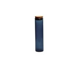 Glazen buisje met kurken stop, kleur silver blue, 12,6 cm