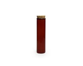 Glazen buisje met kurken stop, kleur terra, 12,6 cm