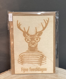 Houten kerstkaart met rendier, incl enveloppe